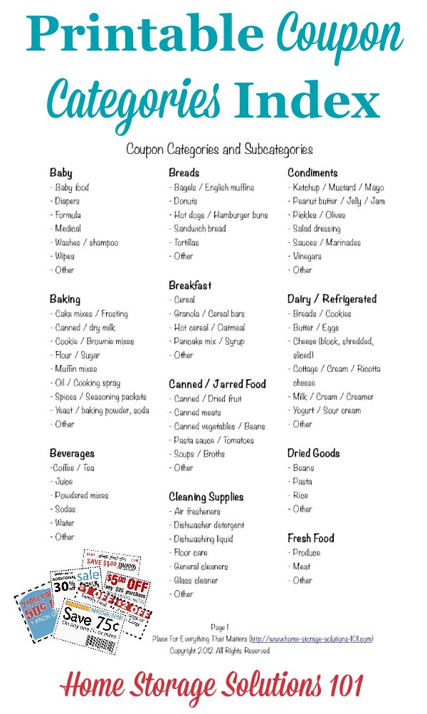 coupon categories printable 1