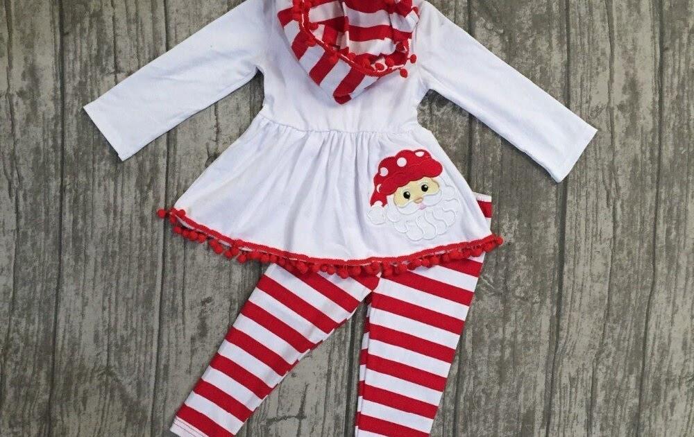 8d210250e9a Kopen Goedkoop Baby Winter herfst Meisjes 3 Stuks Met Sjaal Boutique Wit  Rood Kerstman Gestreepte Kinderen Katoenen Kleding Pom Top Outfits Prijs |  ...
