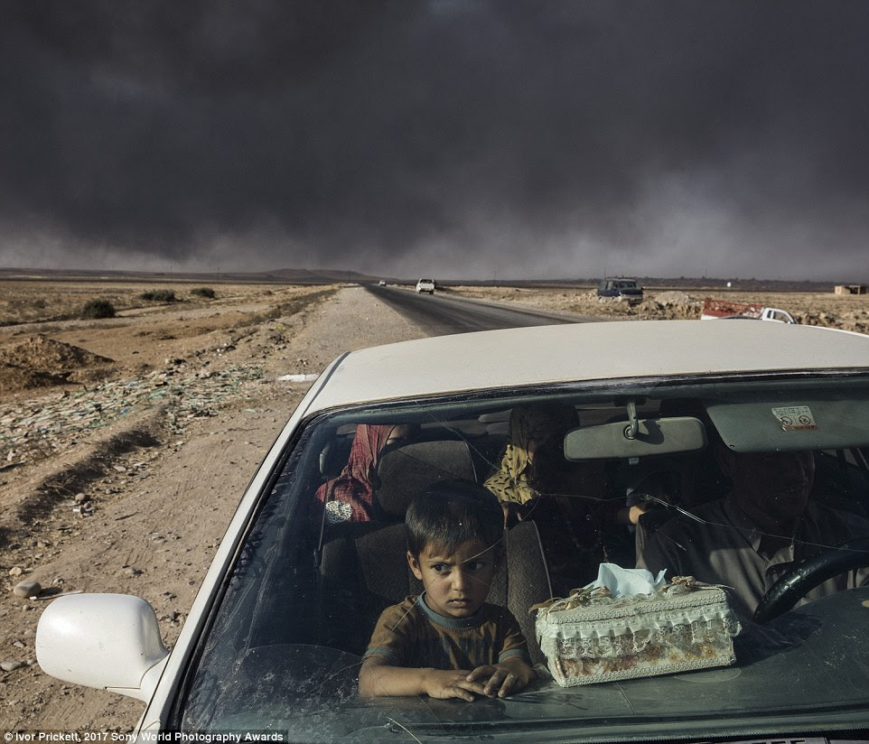 Caught in the crossfire, Iraqi civilians displaced by fighting in the village of Shora, just south of Mosul, reach an Iraqi army checkpoint on the northern outskirts of Qayyarah