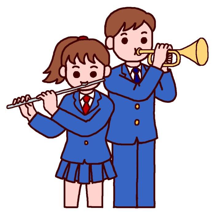 フルートとトランペットカラー音楽楽器演奏の無料イラスト部活動