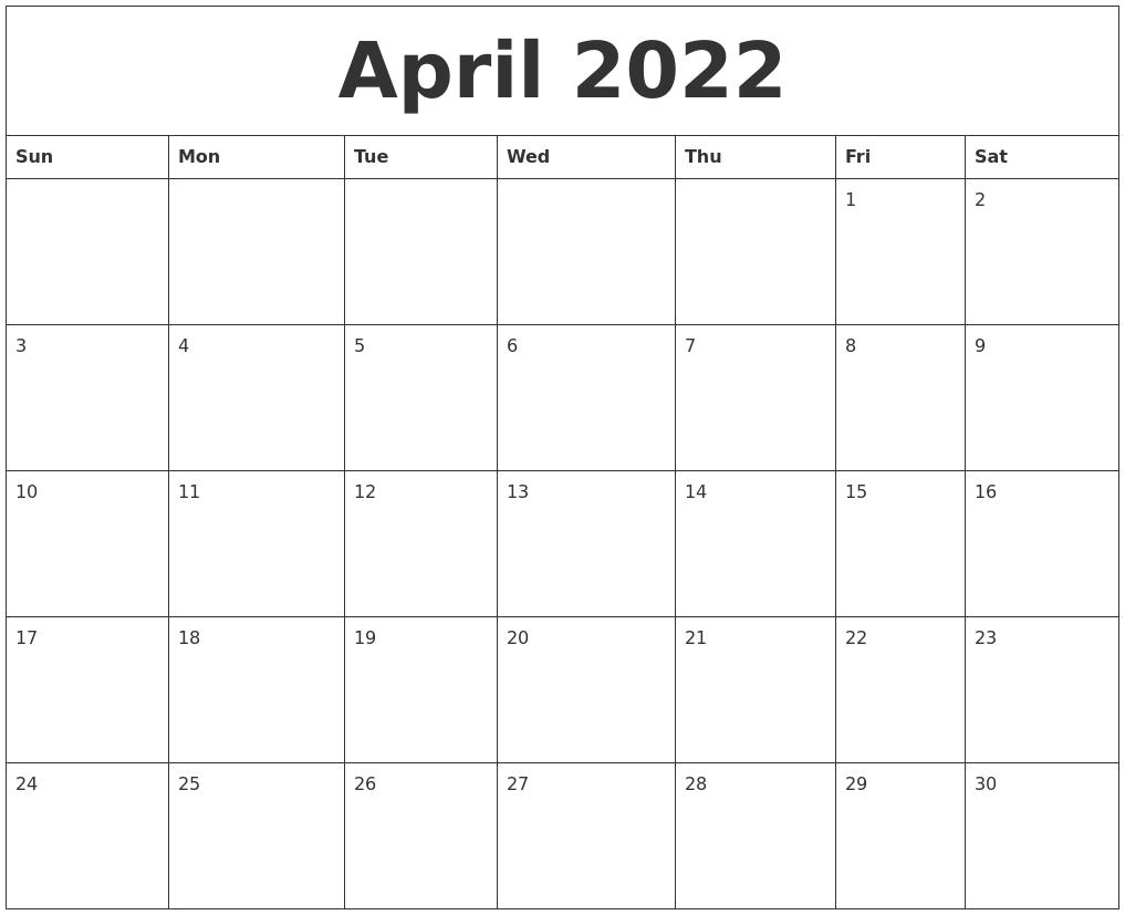 april 2022 printable calendar templates