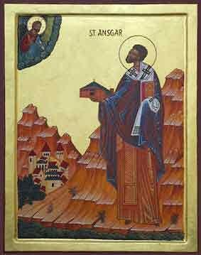 icone orthodoxe de saint Anschaire de Corbie, apotre Belge de la Scandinavie