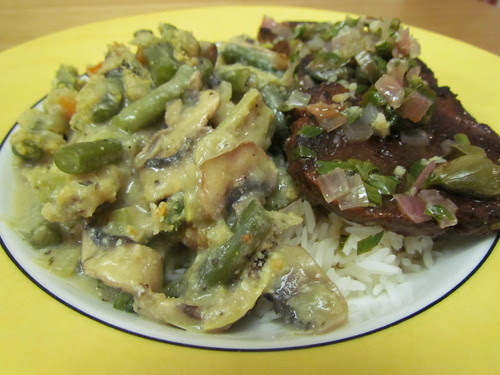 Seitan Piccata; Ted's Artichoke and Green Bean Bake