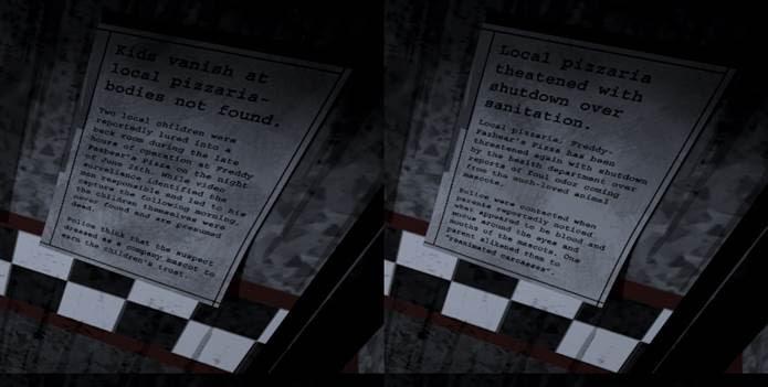 Artigos nas paredes confiram os rumores de que há algo estranho na pizzaria (Foto: Reprodução)