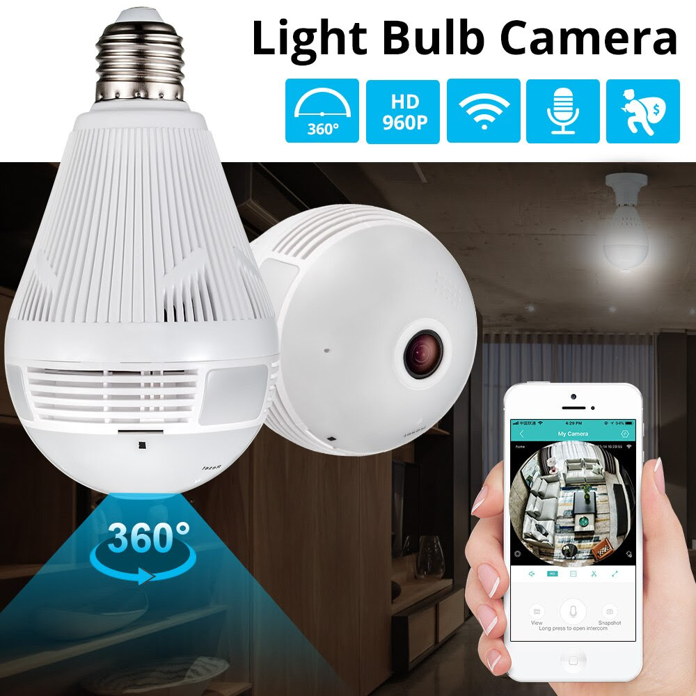 Wireless Panoramic Light Bulb Camera [360°/WiFi/Fisheye Lens/Motion Detection/Indoor & Outdoor]