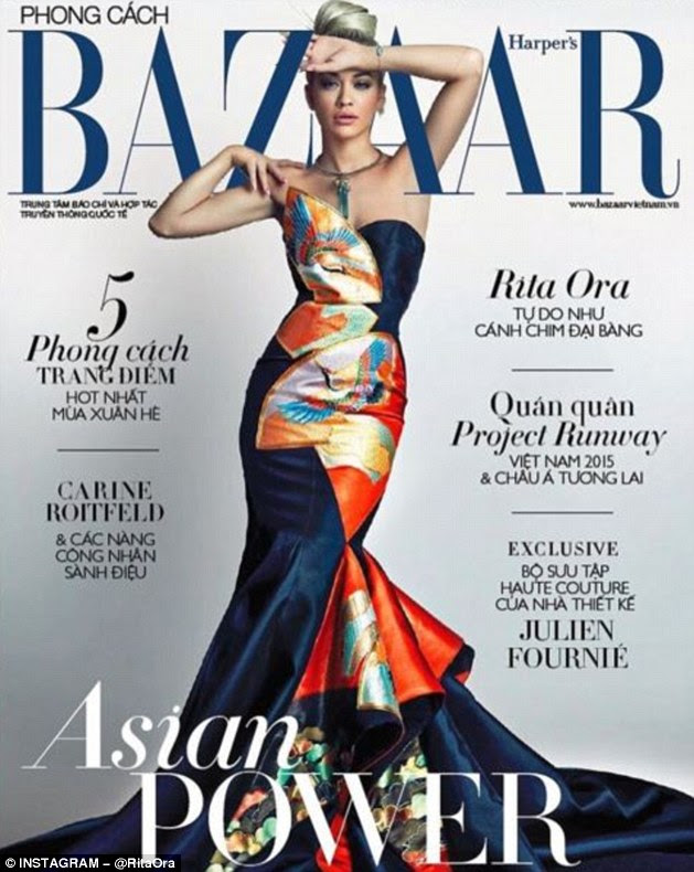 Stunning! She's partial to an eye-catching ensemble. And Rita Ora, 25, didn't disappoint when she graced the cover of the latest edition of Harper's Bizaar Vietnam