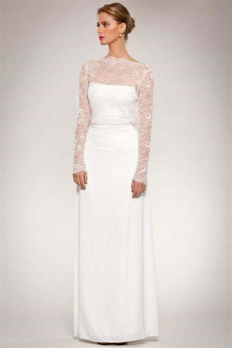 Long Sleeve Lace Wedding Gown Dress With Open Cowl Neck