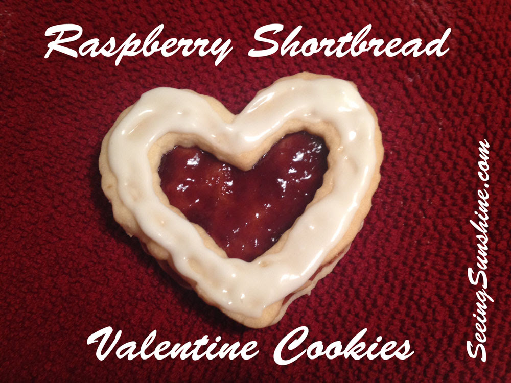 Raspberry Shortbread Valentine Cookies by Seeing Sunshine