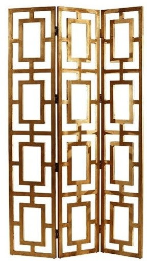 Gilded Wood Open-work Screen - contemporary - screens and wall ...