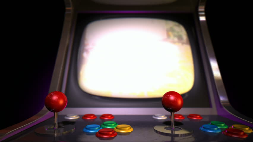 A Pan Around Of A Vintage Arcade Game With A Joystick And ...