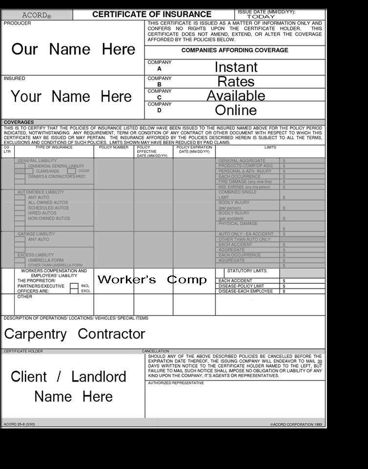 Carpenter Insurance Price Indicators | LiveRate® for ...