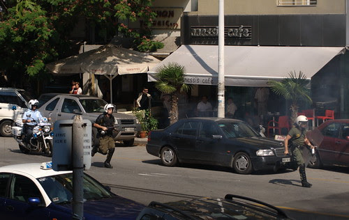 Greek riot police go into action against protesters in Thessaloniki