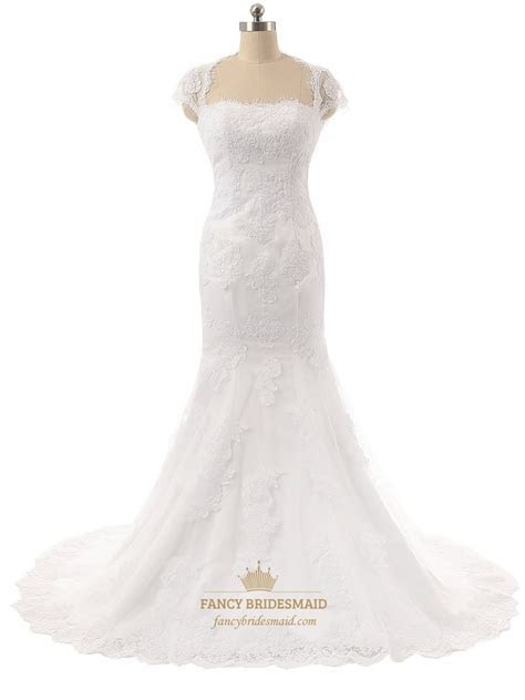 White Lace Applique Cap Sleeve Mermaid Wedding Dress With