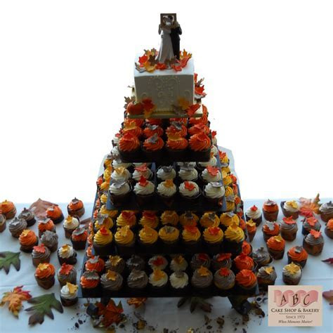(2049) 5 Tier Wedding Cake & Cupcakes in Fall Color   ABC