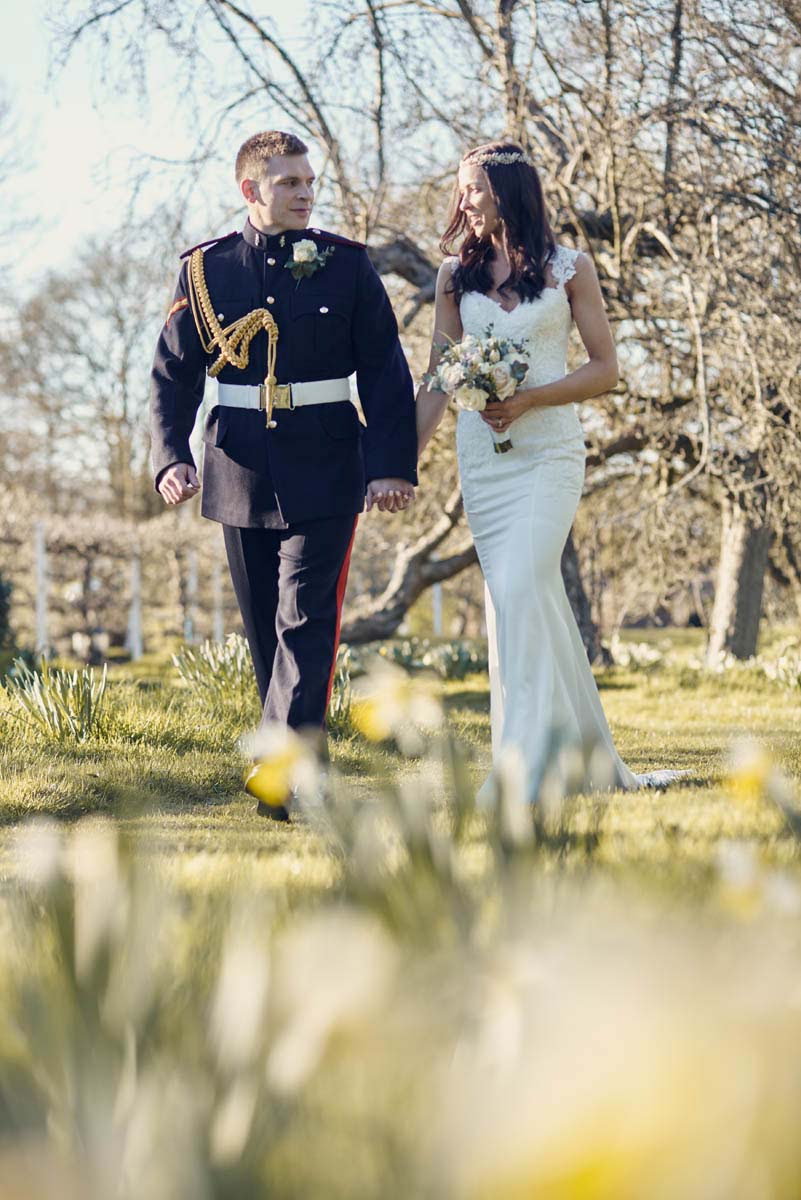 Photo of Bride and groom at Hintlesham Hall - www.helloromance.co.uk