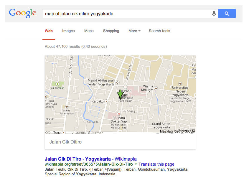 Mencari Petunjuk Jalan dengan Google Search