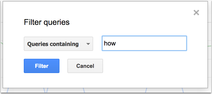 Search console filter