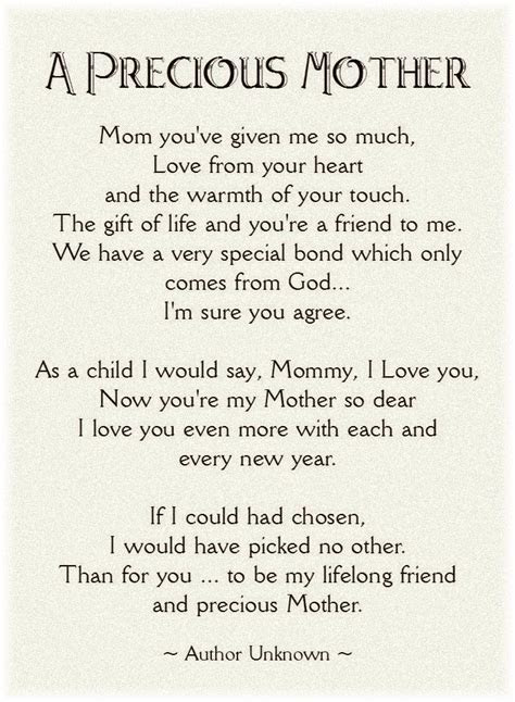 Printable Mother's Day Poems   first a sweet poem for your