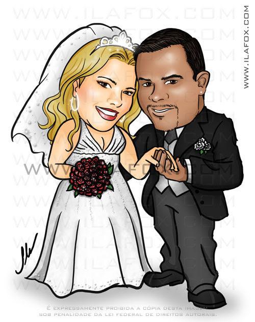 caricatura colorida, casal, noivos colorida, noiva loira, noivo negro, noivinhos michelle e reginaldo, caricatura para casamento, by ila fox