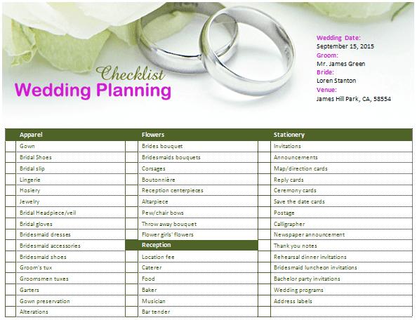 MS Word Wedding Planning Checklist | Office Templates Online