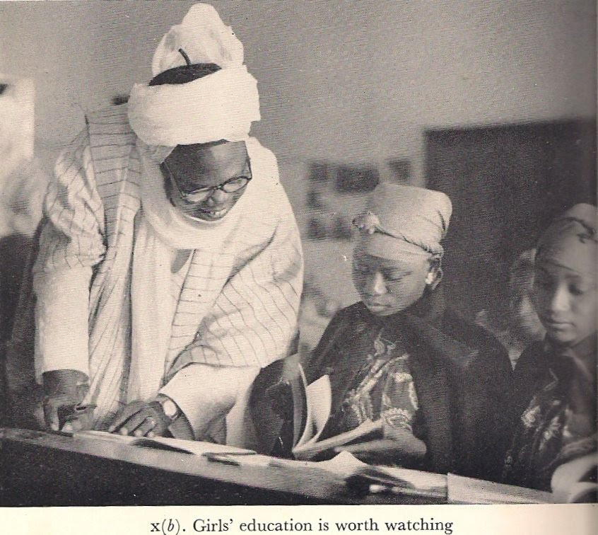 Premier of the Northern Region, Sir Ahmadu Bello keenly encouraging female education in the late 1950s More Vintage Nigerian photos