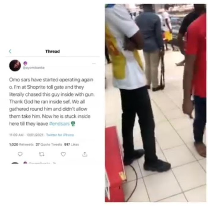 ''SARS is Back again'' Men In SARS Uniform With Gun Chased Man Into Shoprite Mall in Ota