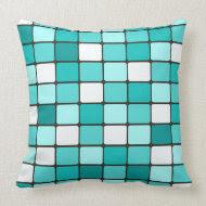 Pretty Turquoise Aqua Teal Mosaic Tile Pattern Throw Pillow