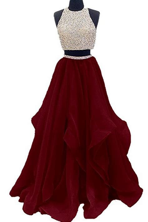2 Piece Floor Length Burgundy Prom Dress Beaded Open Back