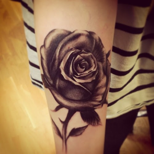 Beautiful Black Rose Tattoo On Sleeve