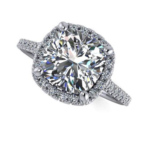 Vintage Style Diamond Halo Engagement Ring   Celestial
