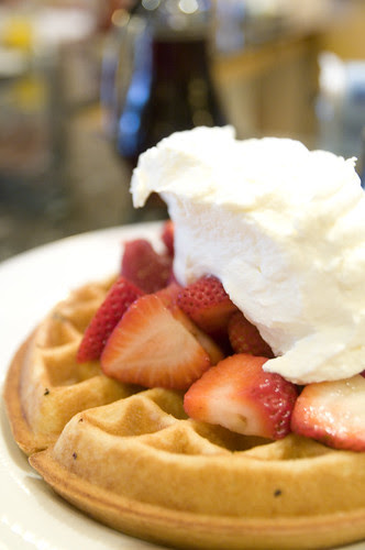 Strawberry Waffle Topped with Fresh Strawberries & Whipped Cream, Sears' Fine Food, San Francisco