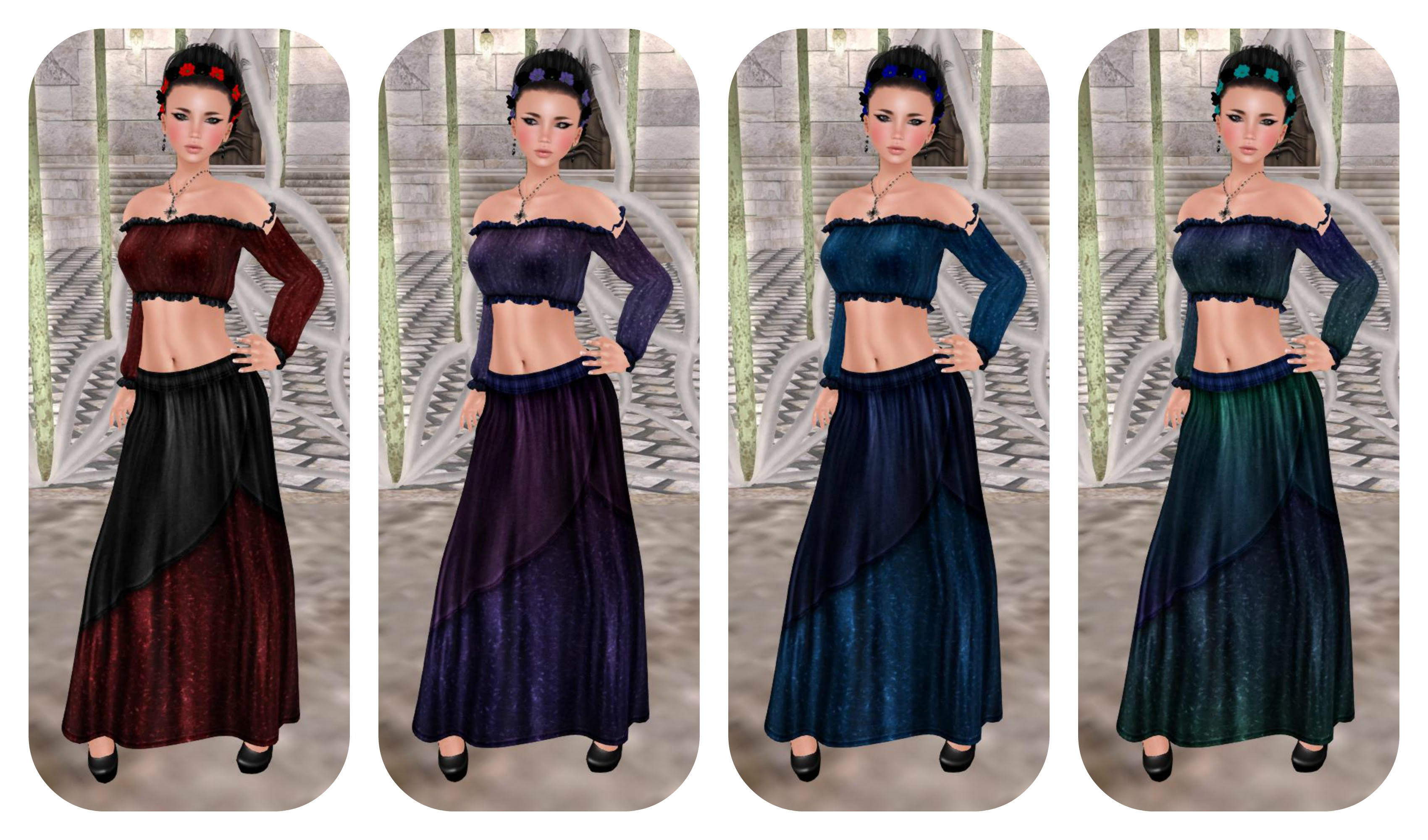 Senzafine Astrid Cropped Peasant top & Tigist Maxi Skirt