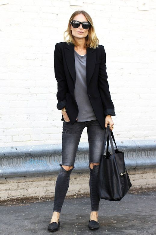 Le Fashion Blog Anine Bing Oversized Sunglasses Black Blazer Grey Tee Ripped Grey Jeans Pointed Toe Flats Via The You Way
