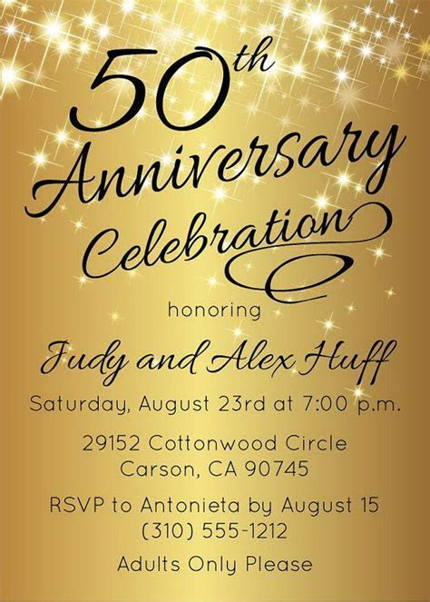 50th Anniversary Invitation Gold Party Invite by