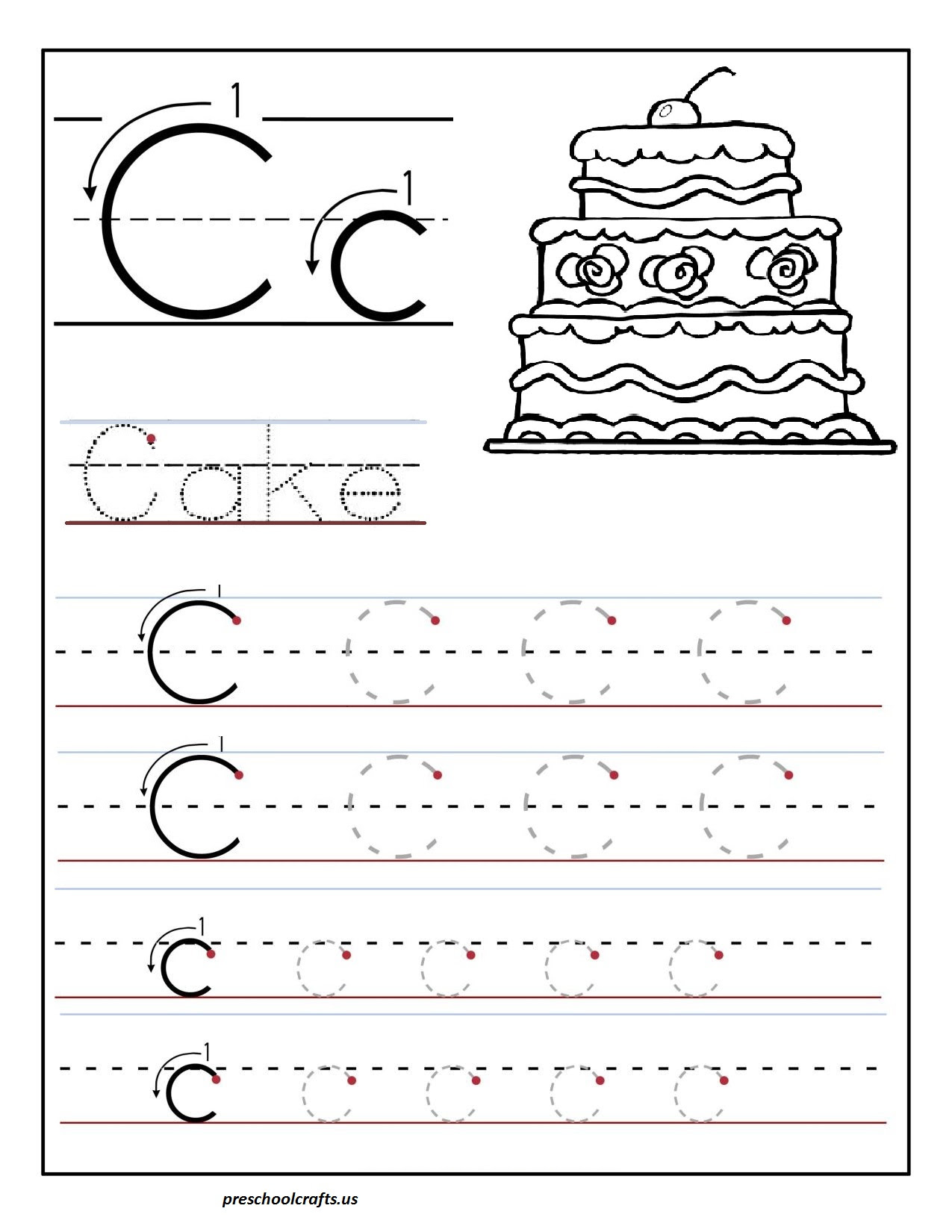 Printable  letter  C  tracing  worksheets  for  preschool  Preschool Crafts