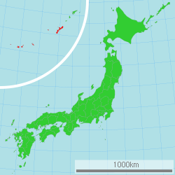 Map of Japan with Okinawa highlighted