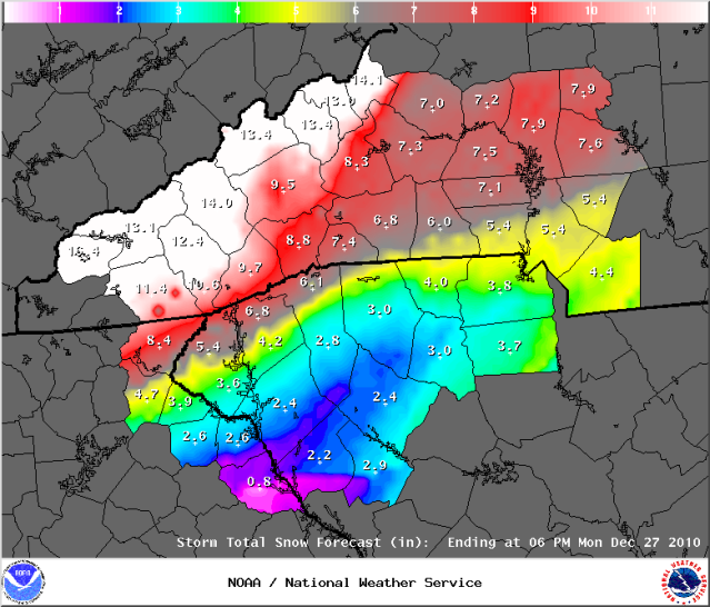 The FIFTH Snow Depth Forecast on the 2010 Christmas Storm  Graphic Courtesy of the Greenville Office of the National Weather Service