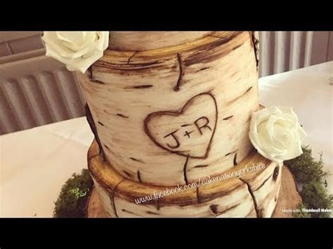 How To Create a Birch Wood Effect On A Cake   YouTube