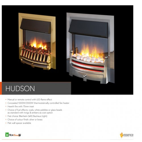 Flame Essence Hudson Silver Electric Fire