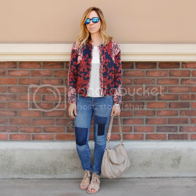 Fashion blogger The Key To Chic wears a quilted H&M bomber jacket with patchwork skinny jeans, Kate Spade Little Penny bag, and Sam & Libby 'Arianna' sandals