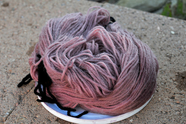 worsted weight wool after a week in rose petal exhaust