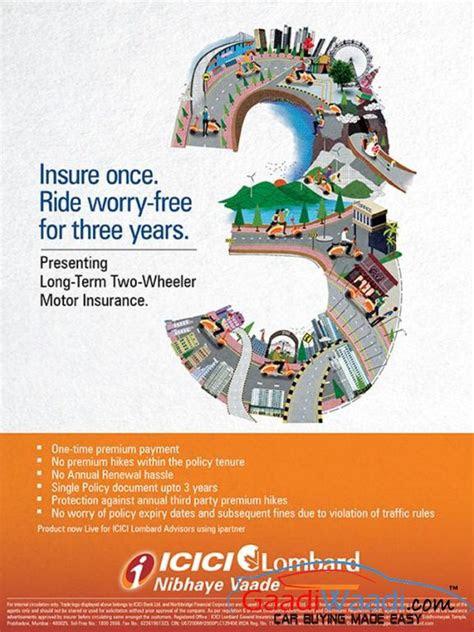 icici lombard  year insurance policy   wheelers