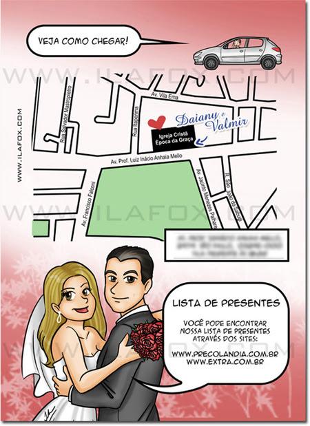 Quadrinhos personalizados, convites personalizados, convites originais para casamento, by ila fox
