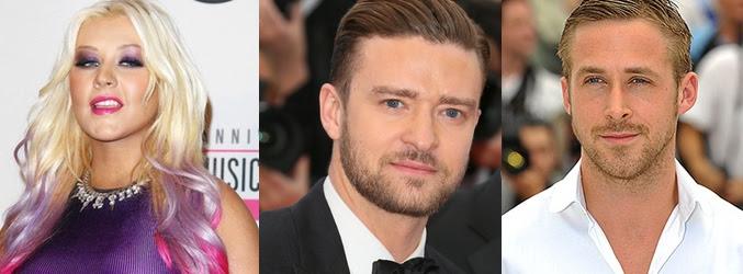 Christina Aguilera, Justin Timberlake y Ryan Gosling