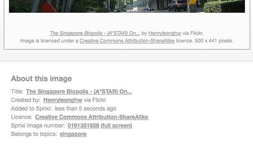 Singapore images - Sprixi - Credits display