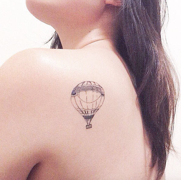 Grey Ink Simple Hot Air Balloon Tattoo On Back Shoulder