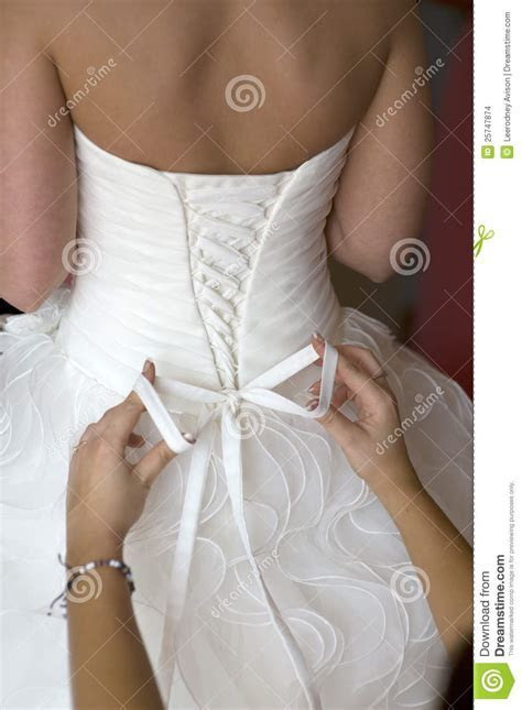 Tying The Bow On A Wedding Dress Stock Images   Image