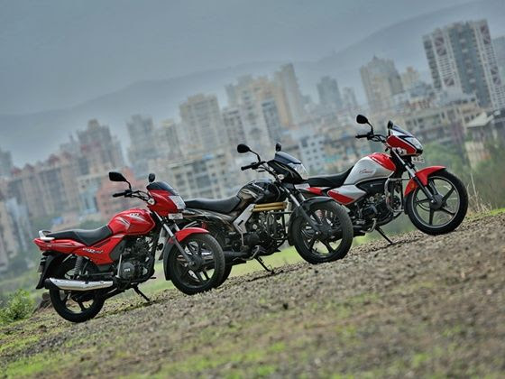 TVS Star City+ vs Hero Splendor iSmart vs Mahindra Centuro static shot