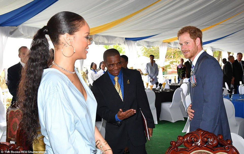 A smartly-dressed Harry was attending Prime Minister Freundel Stuart's Toast to the Nation at St Ann's Fort where the pair were pictured shaking hands