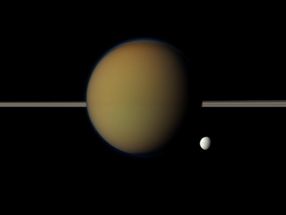 Saturn's moon Tethys and Titan